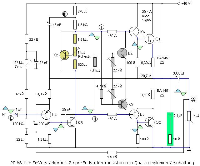 Transistorendstufe in Quasikomplementärschaltung